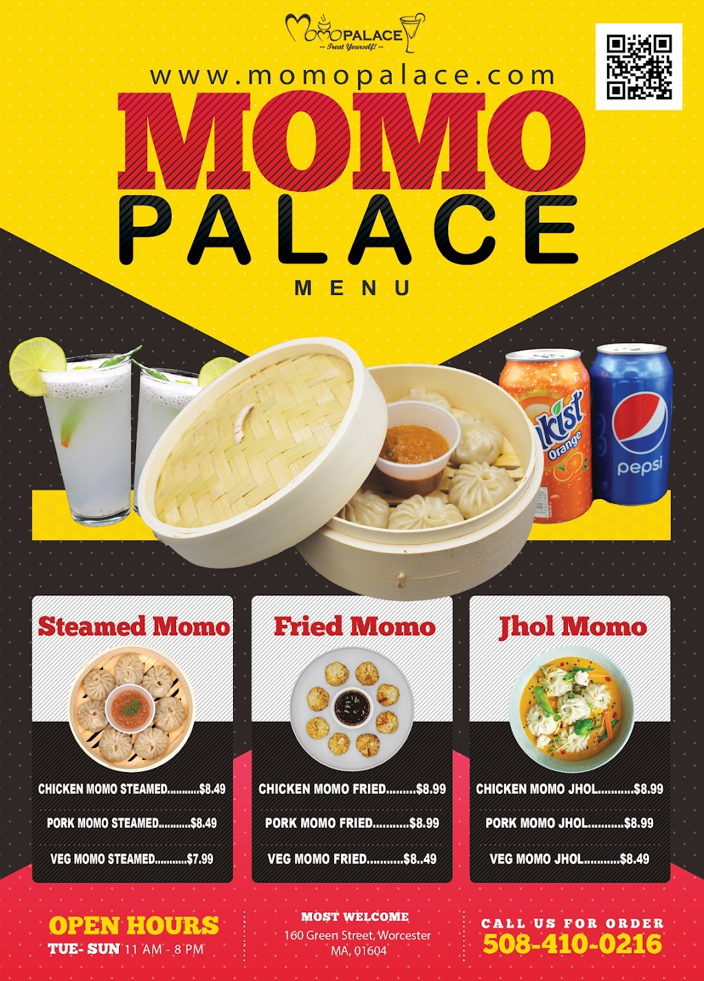 Momo Palace LLC | restaurant | 160 Green St, Worcester, MA 01604, USA | 5084100216 OR +1 508-410-0216