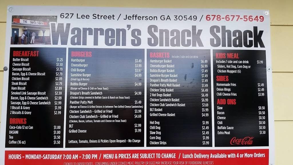 The Snack Shack   restaurant   627 Lee St, Jefferson, GA 30549, USA   6786775649 OR +1 678-677-5649