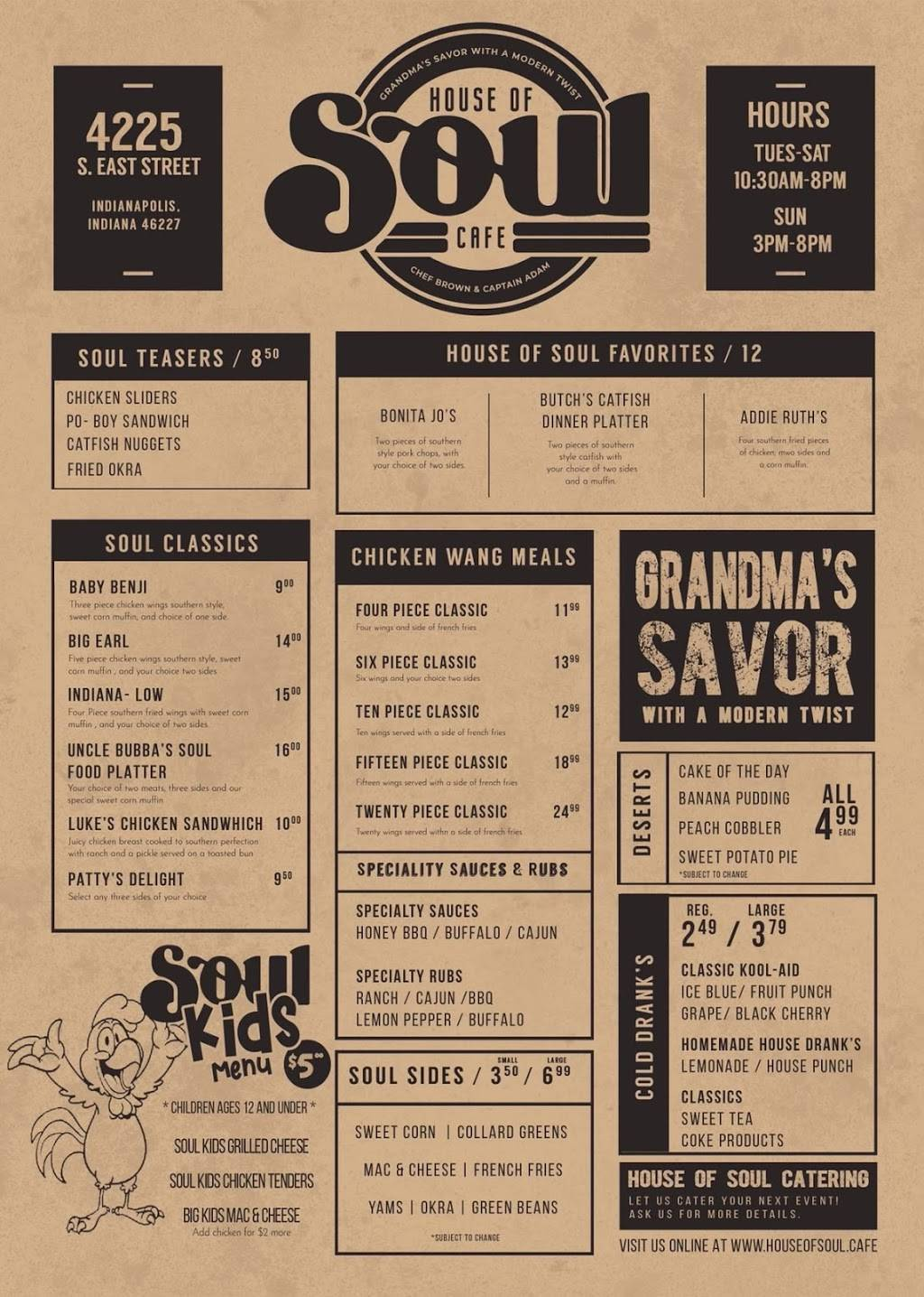 House of Soul Cafe | restaurant | 4225 S East St, Indianapolis, IN 46227, USA | 3177553539 OR +1 317-755-3539