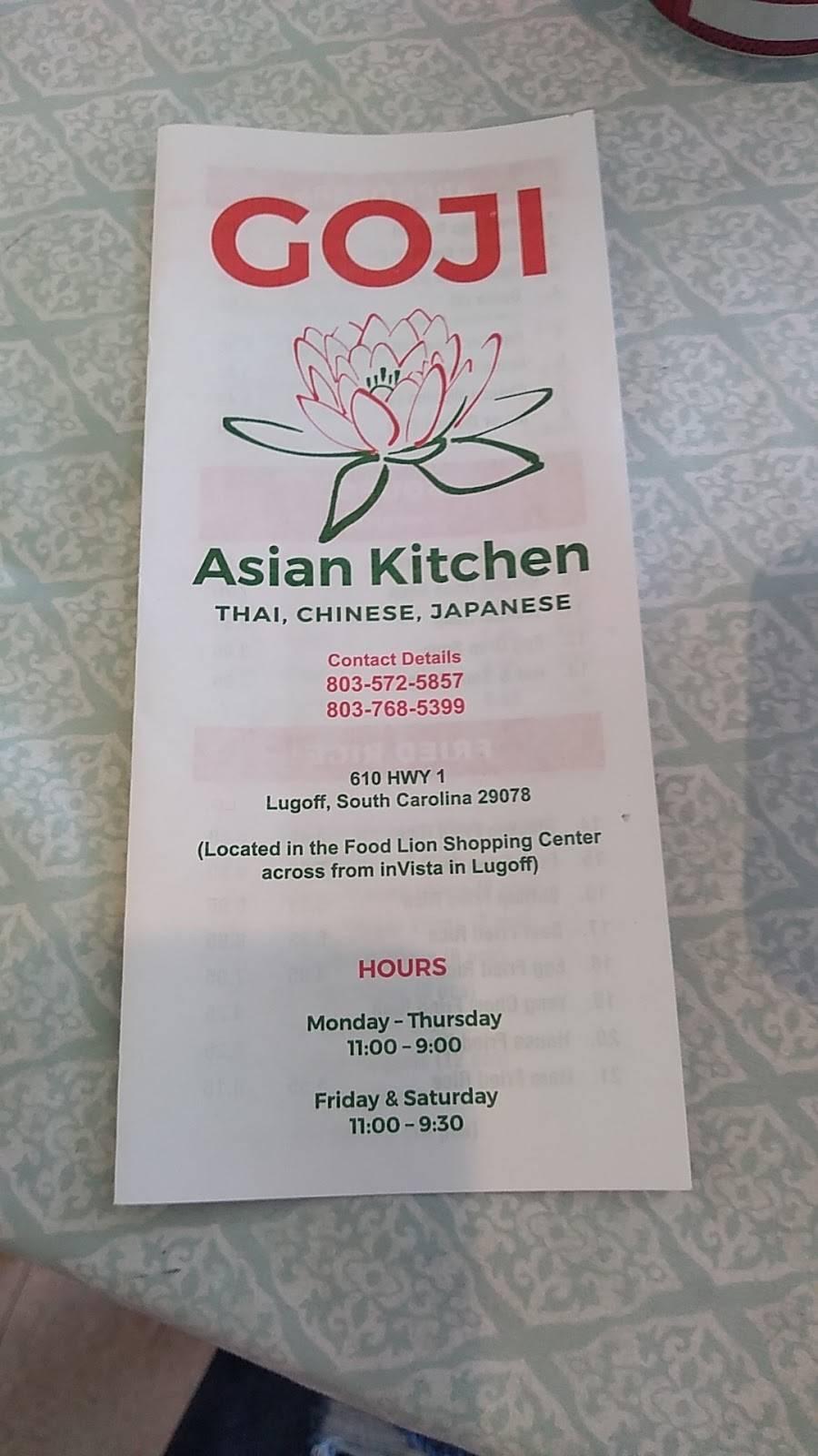 Goji Asian Kitchen   restaurant   610 US-1, Lugoff, SC 29078, USA   8035725857 OR +1 803-572-5857