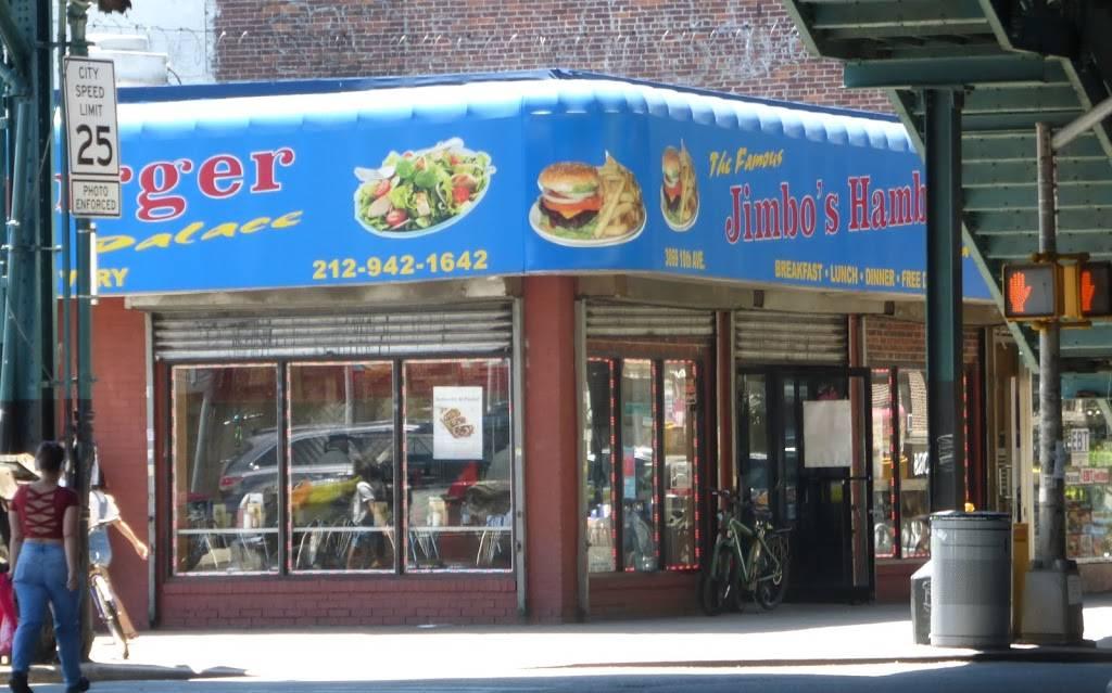 Jimbos Hamburger Palace   meal takeaway   3869 10th Ave, New York, NY 10034, USA   2129421642 OR +1 212-942-1642