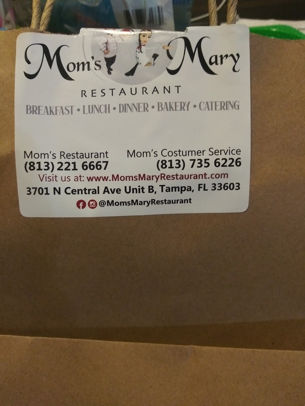 Moms Mary Restaurant, Inc | bakery | 3701 N Central Ave Unit B, Tampa, FL 33603, USA | 8137356226 OR +1 813-735-6226