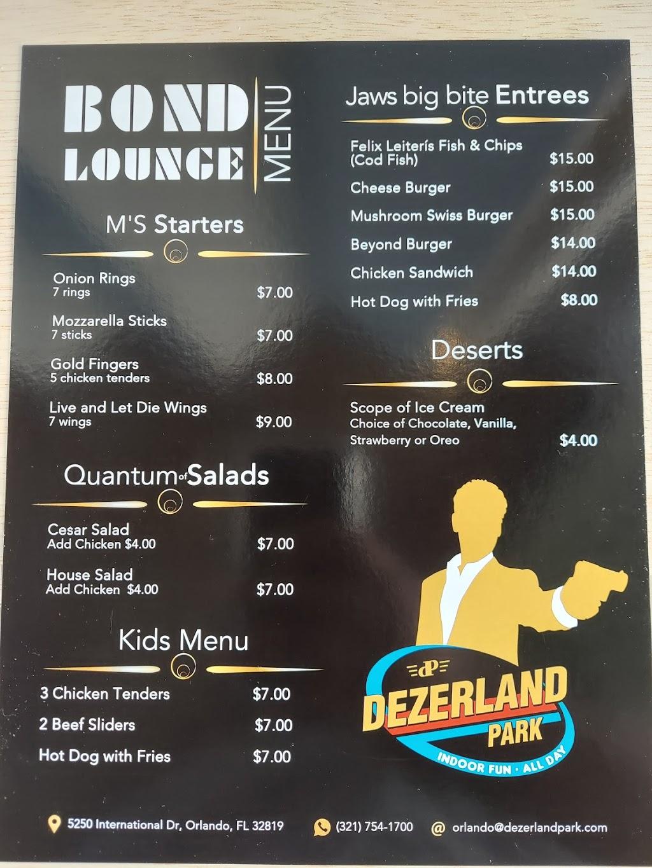 Bond Lounge at Dezerland Park Orlando   restaurant   Dezerland Park Orlando, 5250 International Dr, Orlando, FL 32819, USA   3217541700 OR +1 321-754-1700