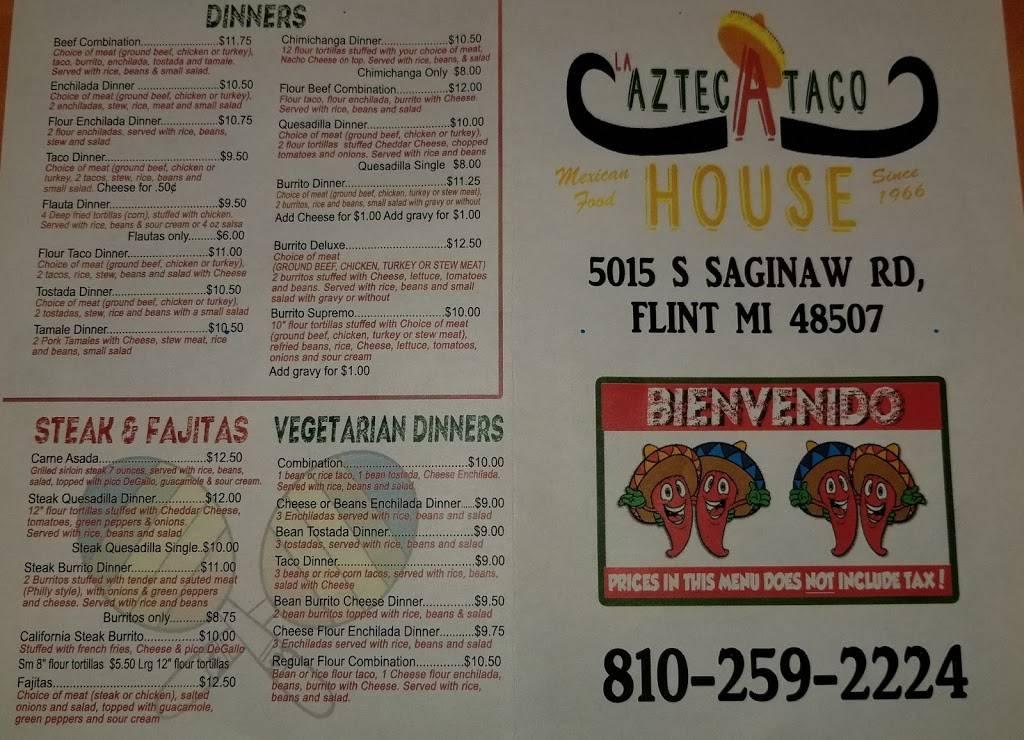 La Azteca Taco House   restaurant   5015 Saginaw Rd, Flint, MI 48507, USA   8102592224 OR +1 810-259-2224