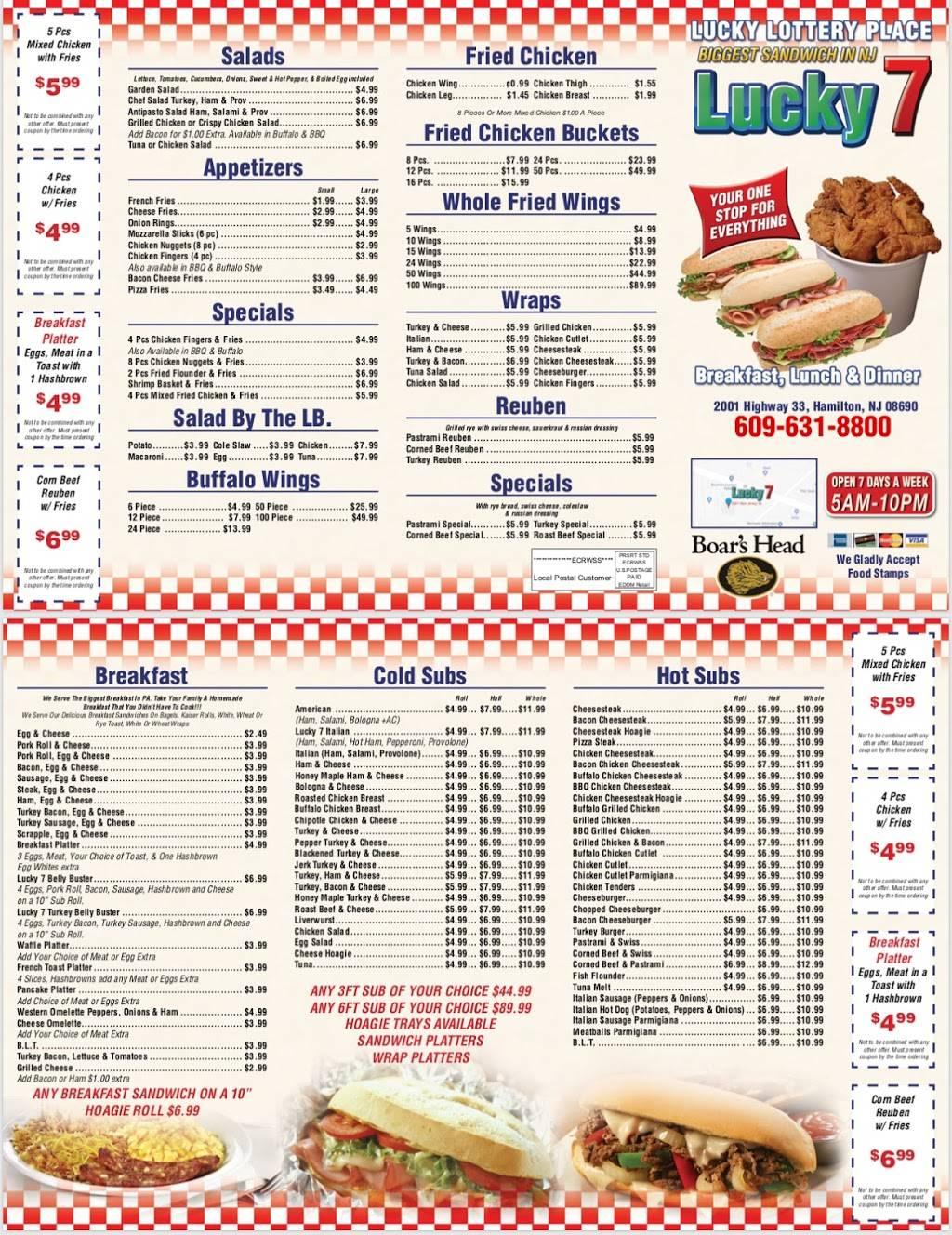 Lucky7 Deli Hamilton | restaurant | 2001 NJ-33, Trenton, NJ 08690, USA | 6096318800 OR +1 609-631-8800