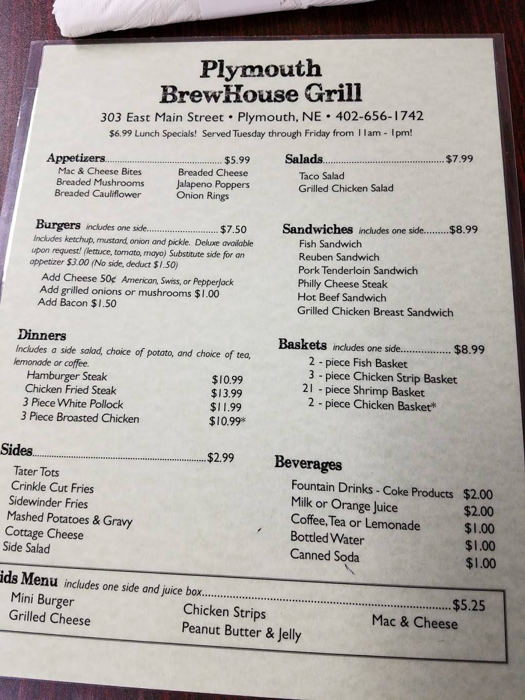 Plymouth BrewHouse Grill | restaurant | 303 East Main St, Plymouth, NE 68424, USA | 4026561742 OR +1 402-656-1742