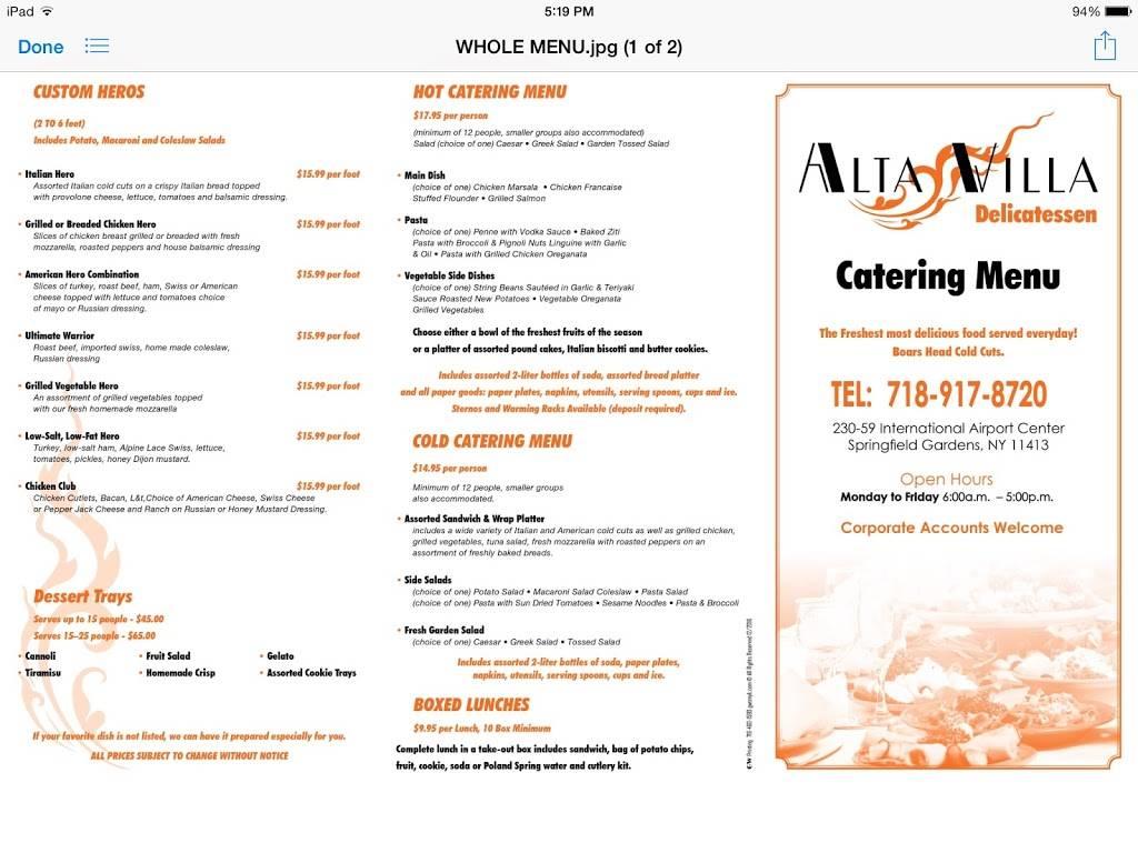 Alta Villa Cafe | restaurant | 230-59 Rockaway Blvd, Springfield Gardens, NY 11413, USA | 7189178720 OR +1 718-917-8720