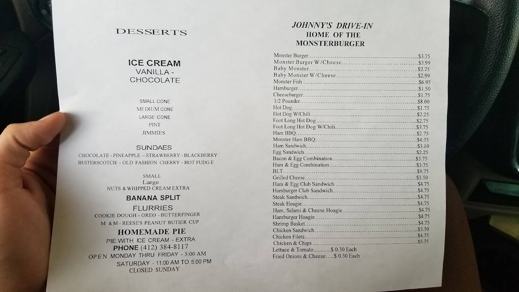 Johnnys Drive-In | restaurant | PA-837, West Elizabeth, PA 15088, USA | 4123848117 OR +1 412-384-8117