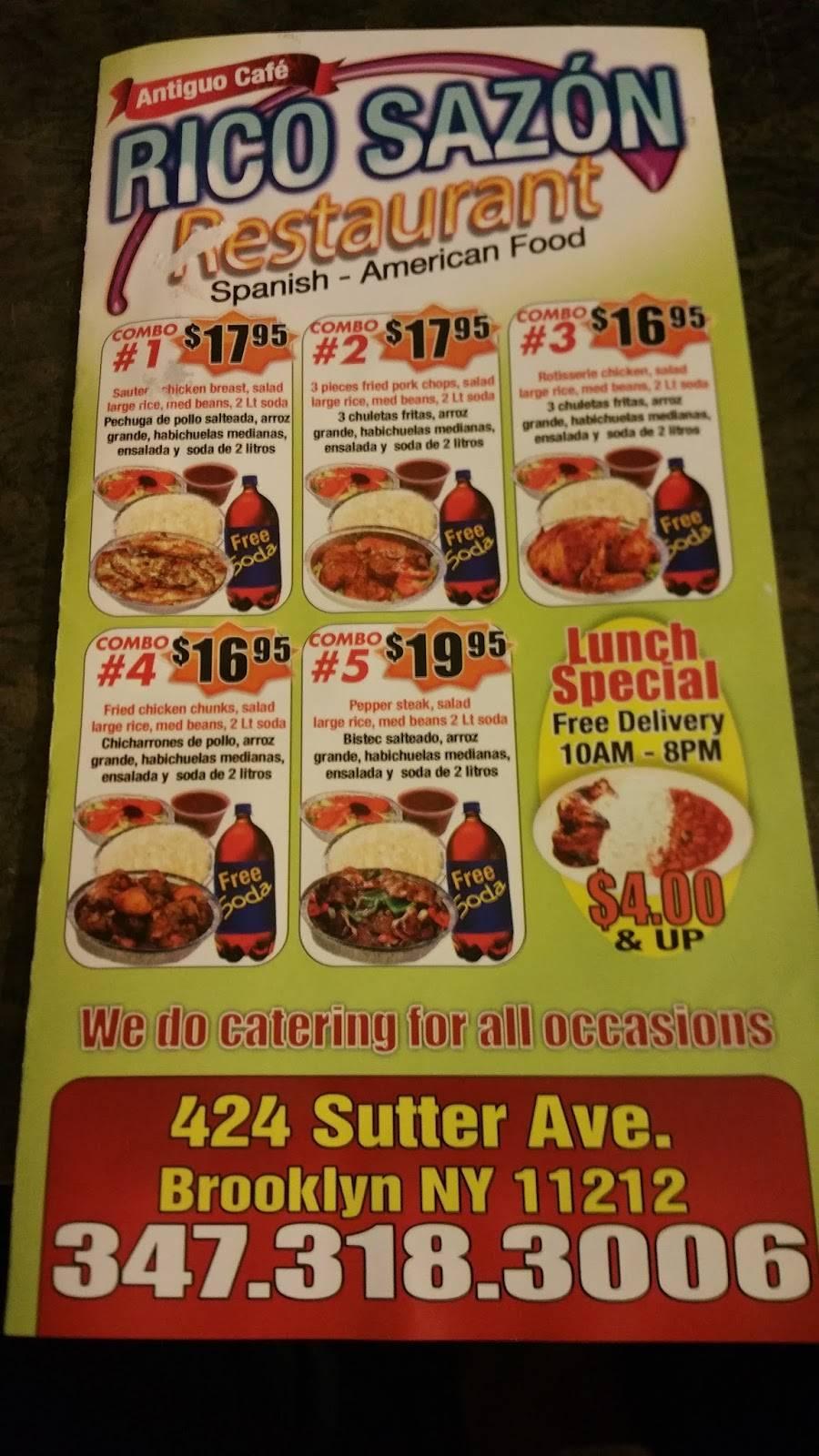 Rico Sazón | restaurant | 424 Sutter Ave, Brooklyn, NY 11212, USA | 3473183006 OR +1 347-318-3006