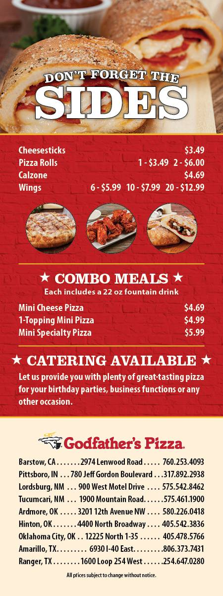 Godfathers Pizza Express | meal delivery | 1600 Loop 254 W, Ranger, TX 76470, USA | 2546470280 OR +1 254-647-0280