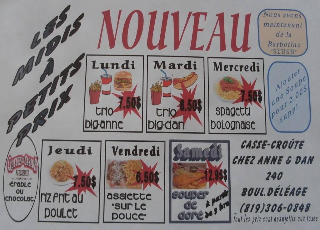 Casse-Croûte Chez Anne & Dan | restaurant | 240 Boulevard Déléage, Déléage, QC J9E 3E6, Canada | 8193060848 OR +1 819-306-0848