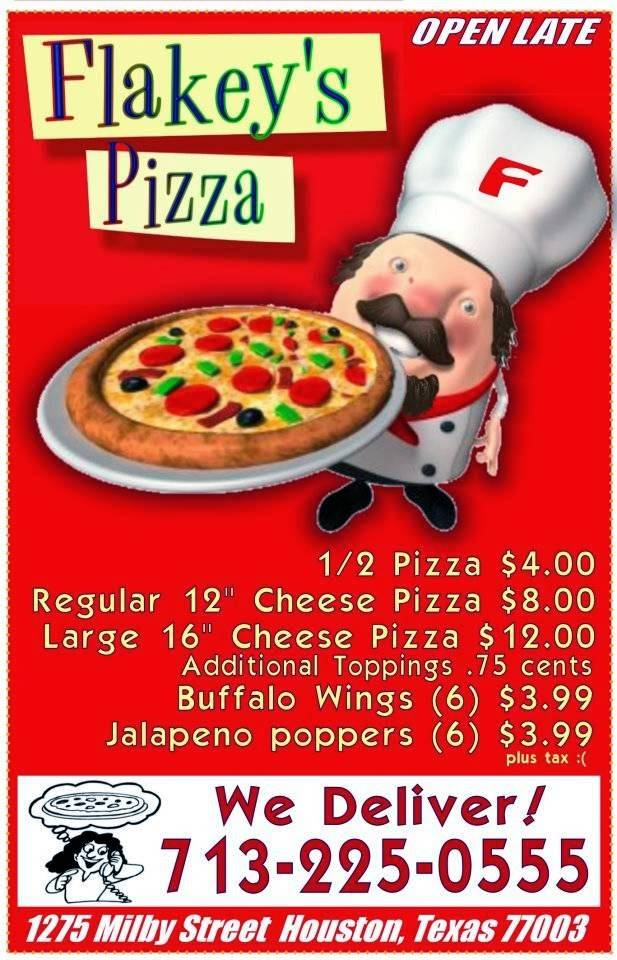 Flakeys Pizza | restaurant | 1275 Milby St, Houston, TX 77003, USA | 7132250555 OR +1 713-225-0555