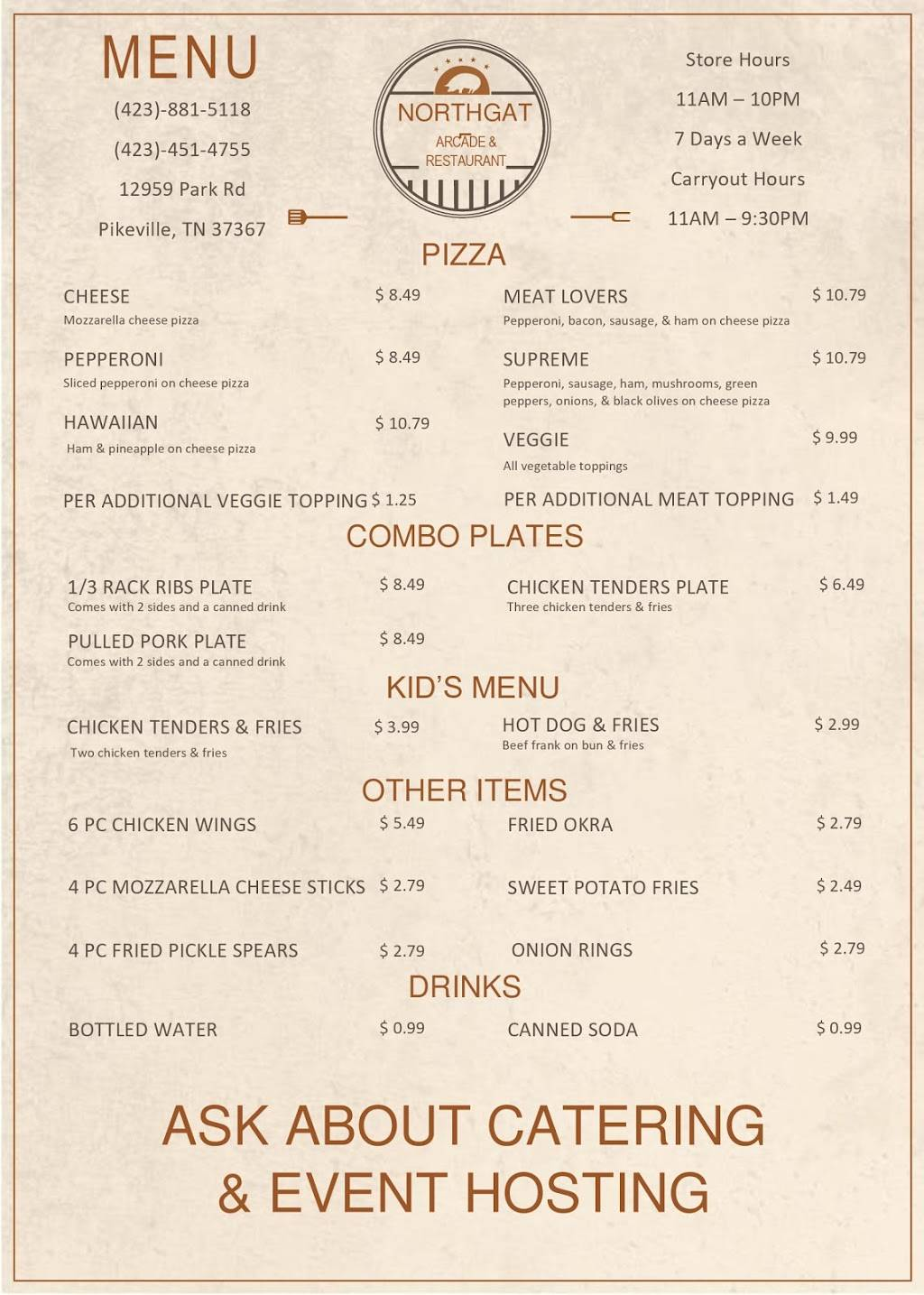 Northgate Arcade and Restaurant | restaurant | 12959 Park Rd, Pikeville, TN 37367, USA | 4238815118 OR +1 423-881-5118