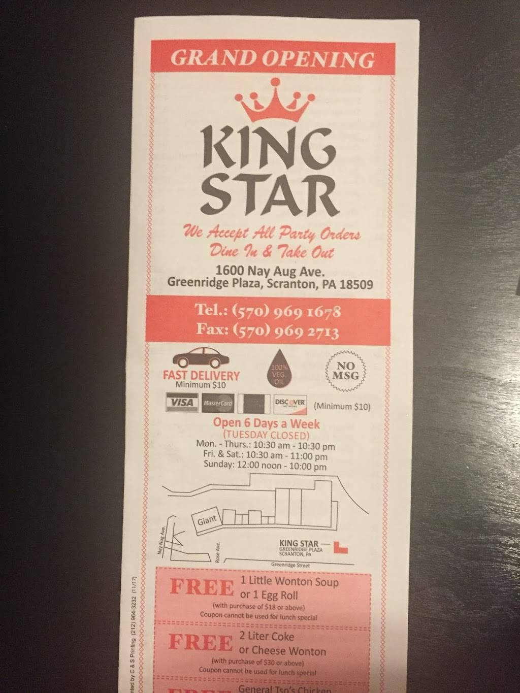 King star | meal delivery | 1600 Nay Aug Ave, Scranton, PA 18509, USA | 5709691678 OR +1 570-969-1678