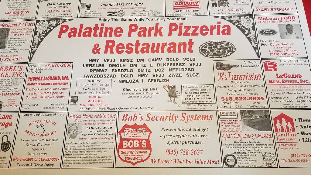 Palatine Park Pizza | restaurant | 85 Palatine Park Rd, Germantown, NY 12526, USA | 5185376262 OR +1 518-537-6262