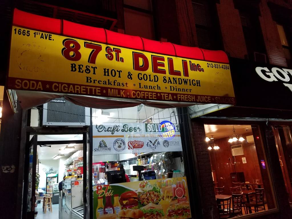 87th Street Deli Inc | restaurant | 1665 1st Avenue, New York, NY 10028, USA | 2128314384 OR +1 212-831-4384