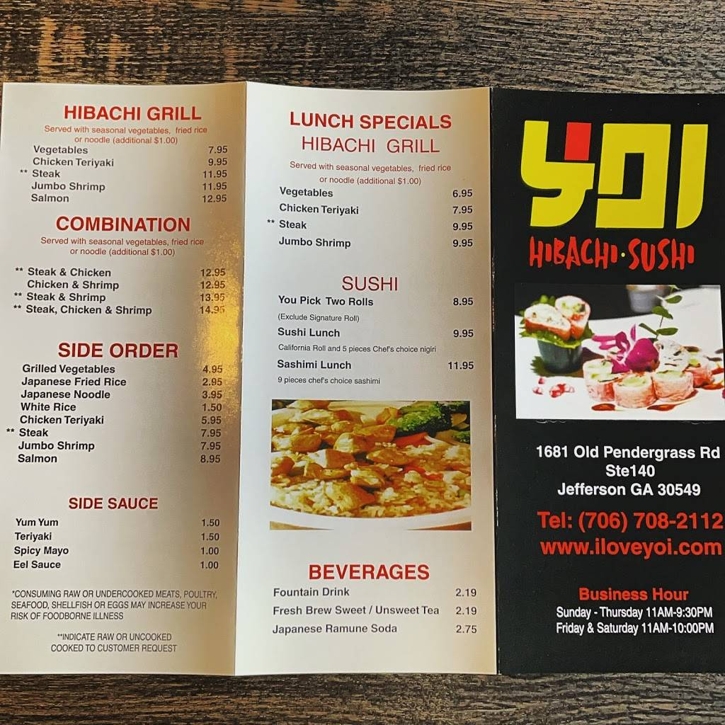 Yoi Hibachi & Sushi | restaurant | 1681 Old Pendergrass Rd Suite 140, Jefferson, GA 30549, USA | 7067082112 OR +1 706-708-2112