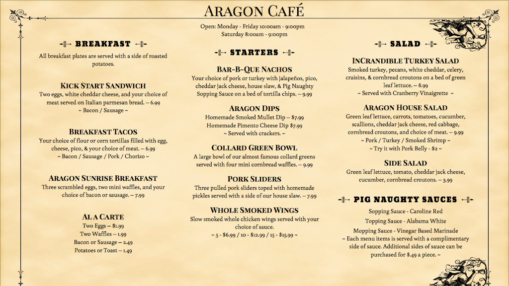 The Aragon Cafe | cafe | 47 N 9th Ave, Pensacola, FL 32502, USA | 8504448074 OR +1 850-444-8074