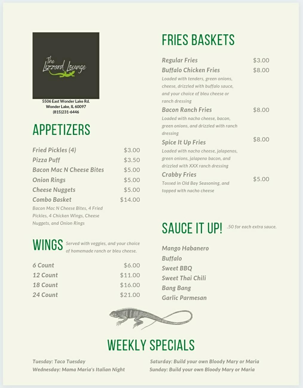 Mikes Lizzard Lounge   restaurant   5506 E Wonder Lake Rd, Wonder Lake, IL 60097, USA