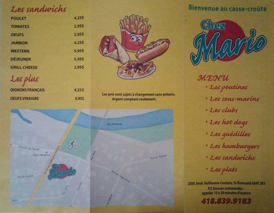 Casse-croûte Chez Mario | meal takeaway | 2500 Boulevard Guillaume-Couture, Saint-Romuald, QC G6W 2R3, Canada | 4188399183 OR +1 418-839-9183