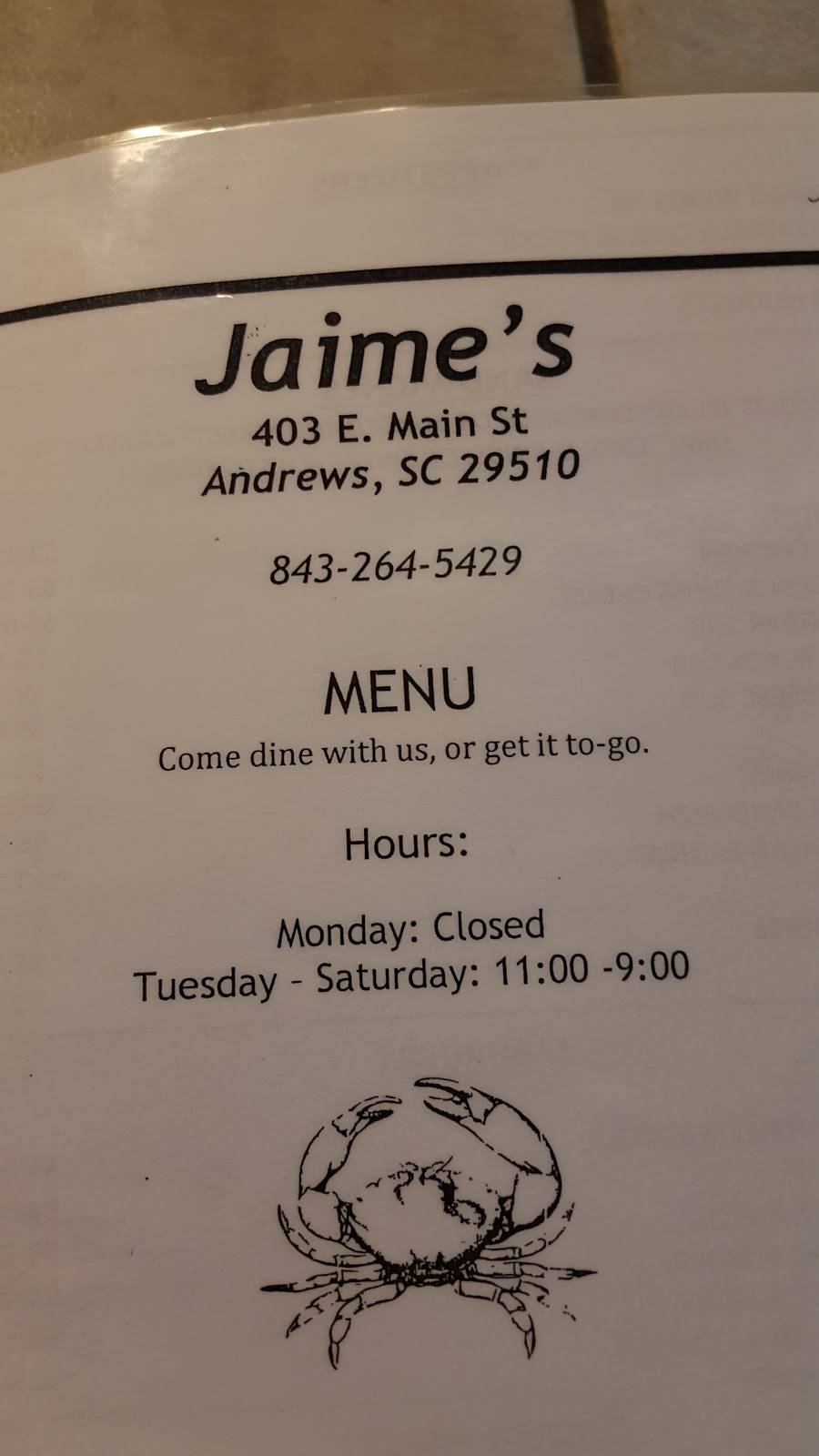 Jamies Seafood Shack | restaurant | 403 E Main St, Andrews, SC 29510, USA | 8432645429 OR +1 843-264-5429