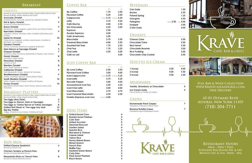 Krave Cafe & Grill | cafe | 45-01 Ditmars Blvd, Queens, NY 11105, USA | 7182047711 OR +1 718-204-7711