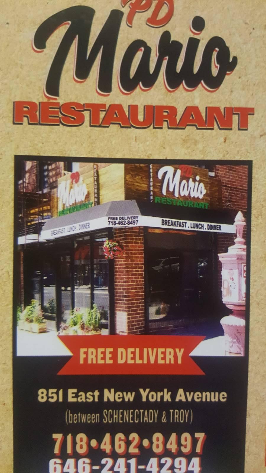 PD MARIO RESTAURANT | restaurant | 851 E New York Ave, Brooklyn, NY 11203, USA | 7184628497 OR +1 718-462-8497
