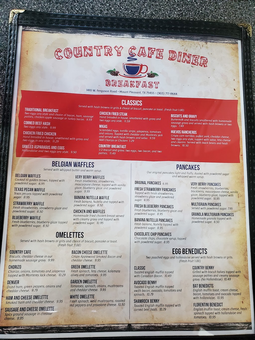 Country Cafe Diner   restaurant   1410 W Ferguson Rd, Mt Pleasant, TX 75455, USA   9037178644 OR +1 903-717-8644