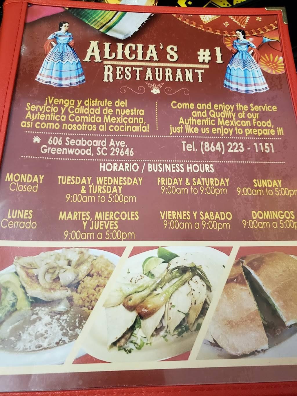 Alicias #1 | restaurant | 2843, 606 Seaboard Ave, Greenwood, SC 29646, USA | 8642231151 OR +1 864-223-1151