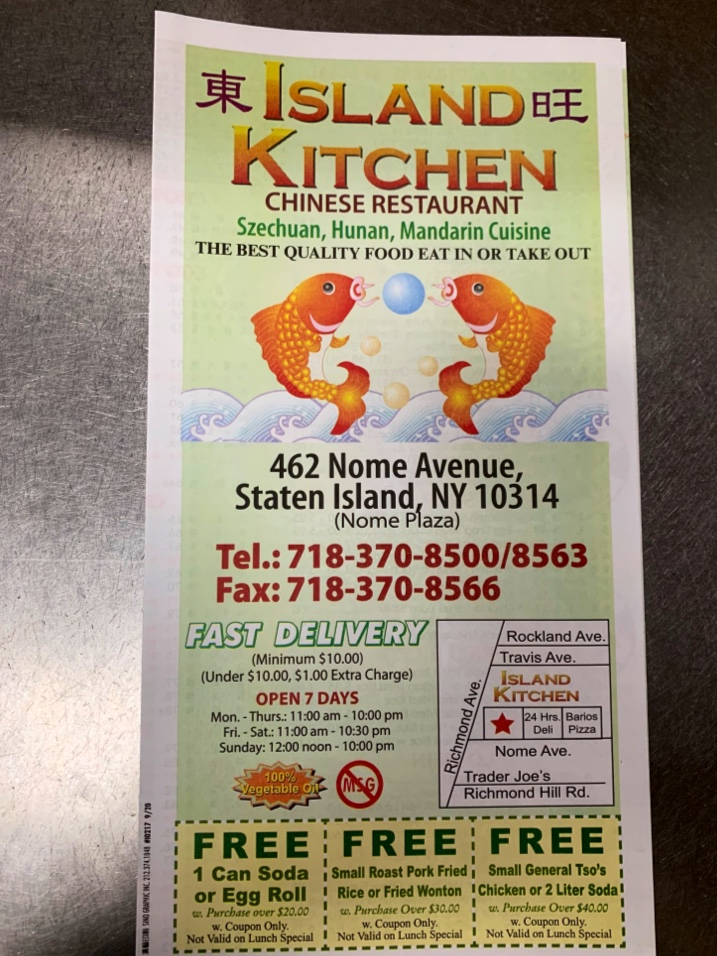 Island Kitchen Chinese | meal delivery | 462 Nome Ave, Staten Island, NY 10314, USA | 7183708500 OR +1 718-370-8500