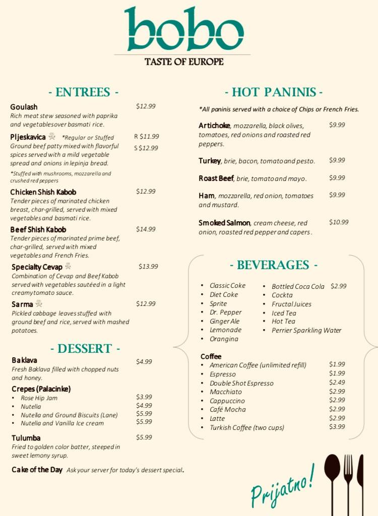 Bobo Taste of Europe   restaurant   8130 Broadview Rd, Broadview Heights, OH 44147, USA   4405871200 OR +1 440-587-1200