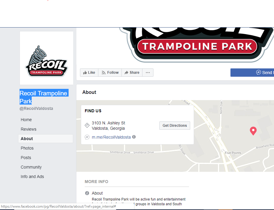 Recoil Trampoline Park | restaurant | 3103 N Ashley St, Valdosta, GA 31602, USA