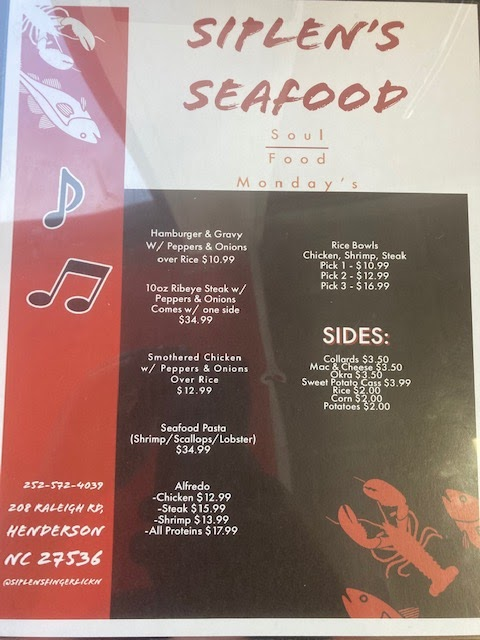 Siplens Seafood | restaurant | 208 Raleigh Rd, Henderson, NC 27536, USA | 2525724039 OR +1 252-572-4039