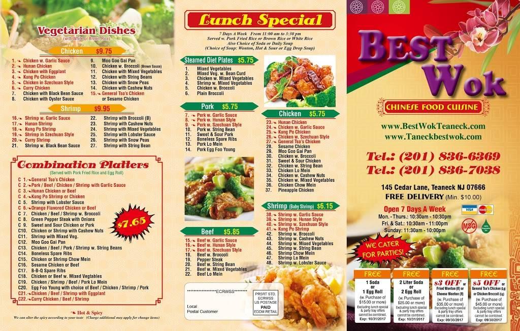 Best Wok | restaurant | 145 Cedar Ln, Teaneck, NJ 07666, USA | 2018366369 OR +1 201-836-6369