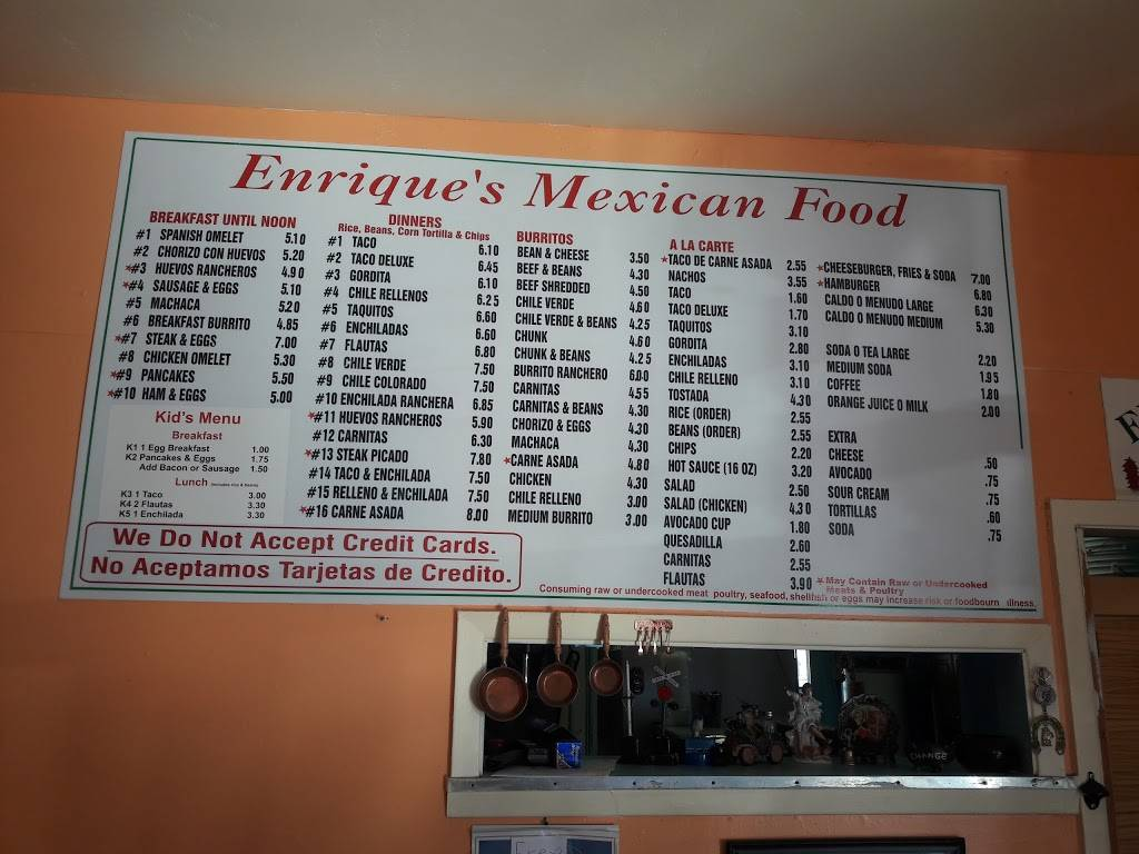 Enriques Mexican Food | restaurant | 830 W Picacho Ave, Las Cruces, NM 88005, USA | 5756470240 OR +1 575-647-0240