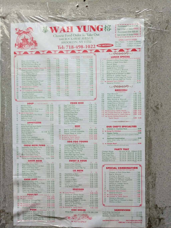 Wah Yung   restaurant   648 Rockaway Ave, Brooklyn, NY 11212, USA   7184981022 OR +1 718-498-1022