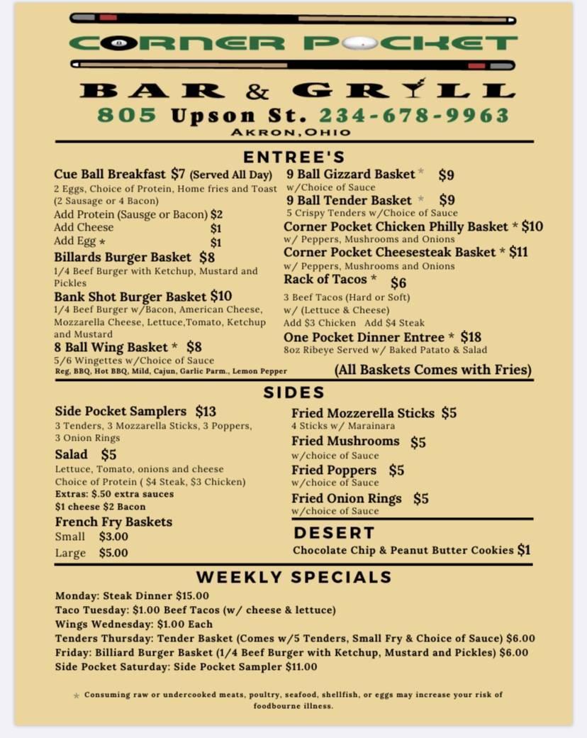The Corner Pocket Bar | restaurant | 805 Upson St, Akron, OH 44305, USA | 2346789963 OR +1 234-678-9963