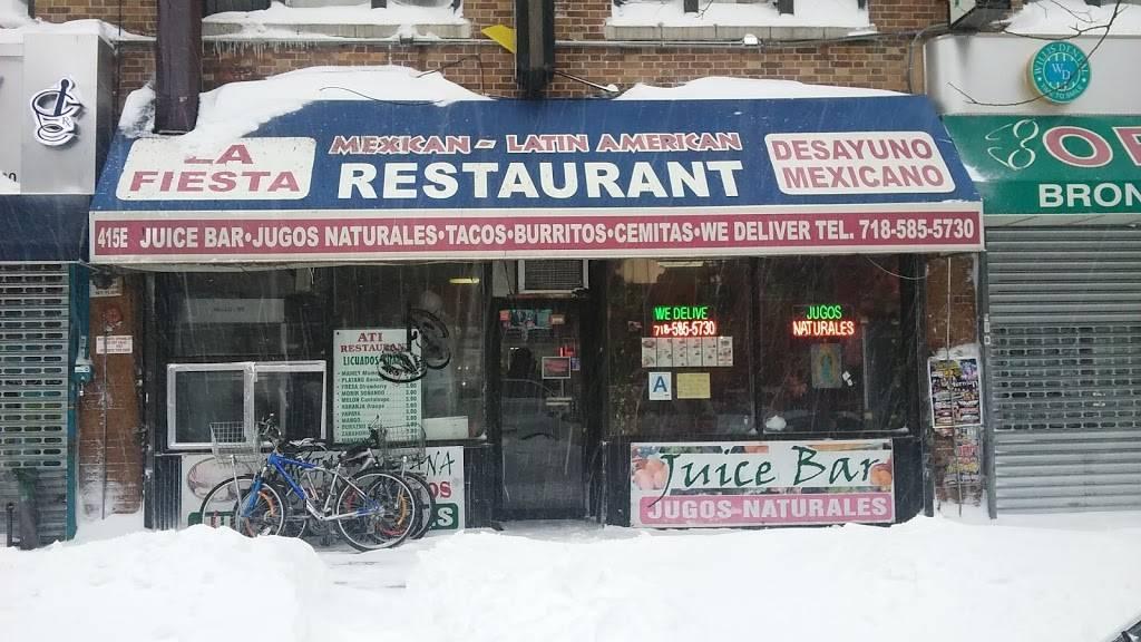 La Fiesta   restaurant   415 E 138th St, Bronx, NY 10454, USA   7185855730 OR +1 718-585-5730