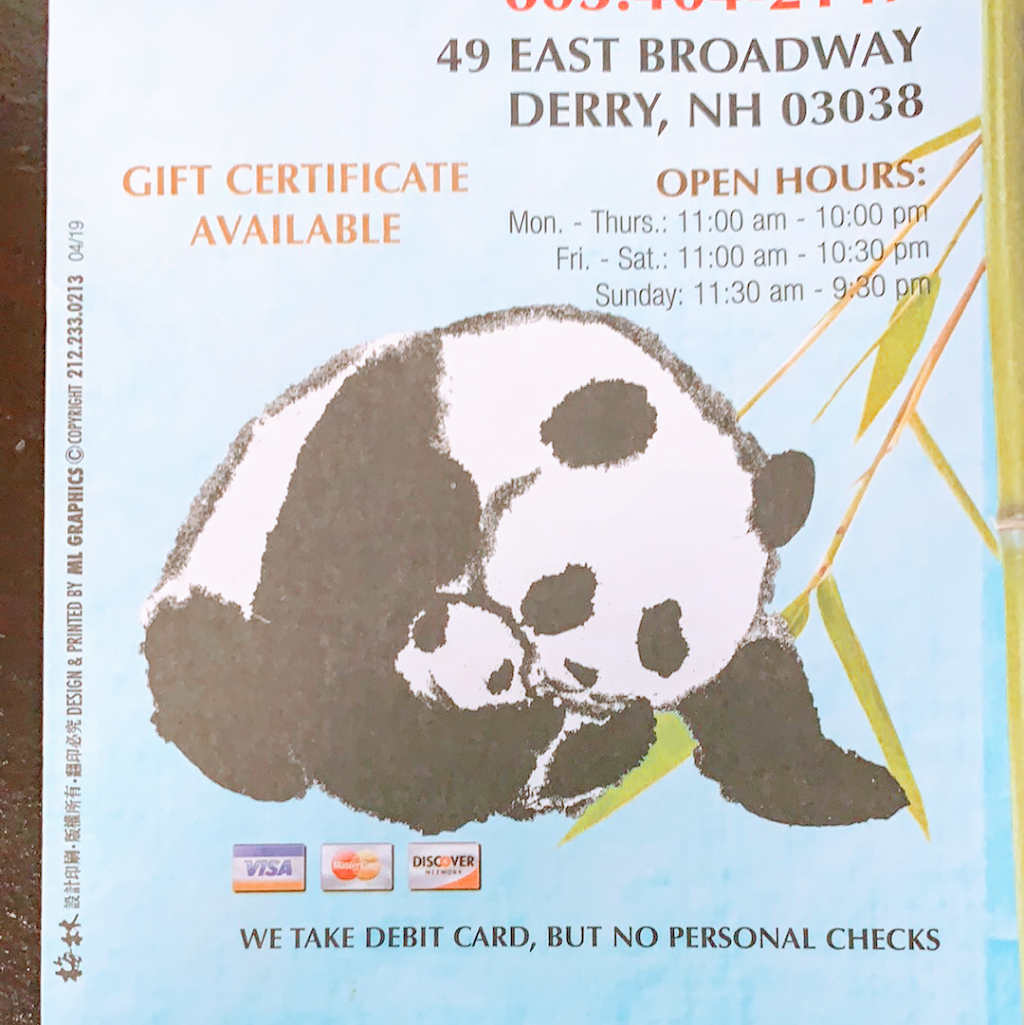 Lucky Panda Chinese Restaurant | meal takeaway | 49 E Broadway, Derry, NH 03038, USA | 6039654537 OR +1 603-965-4537