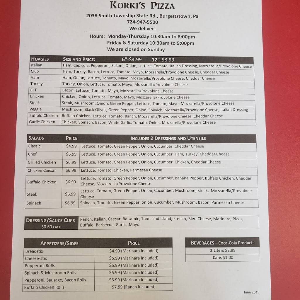 Korkis Pizza | restaurant | 2038 Smith Township State Rd, Burgettstown, PA 15021, USA | 7249475500 OR +1 724-947-5500