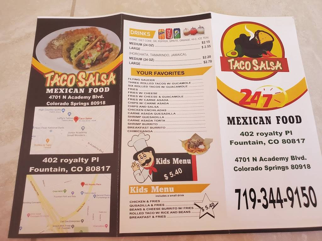 Taco Salsa 2 LLC | restaurant | 402 Royalty Pl, Fountain, CO 80817, USA | 7197554598 OR +1 719-755-4598
