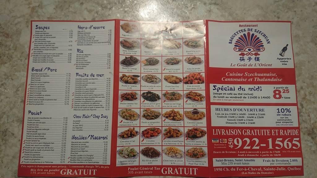 Baguettes De Szechuan | restaurant | 1950 Chemin du Fer-à-Cheval, Sainte-Julie, QC J3E 2T6, Canada | 4509221565 OR +1 450-922-1565