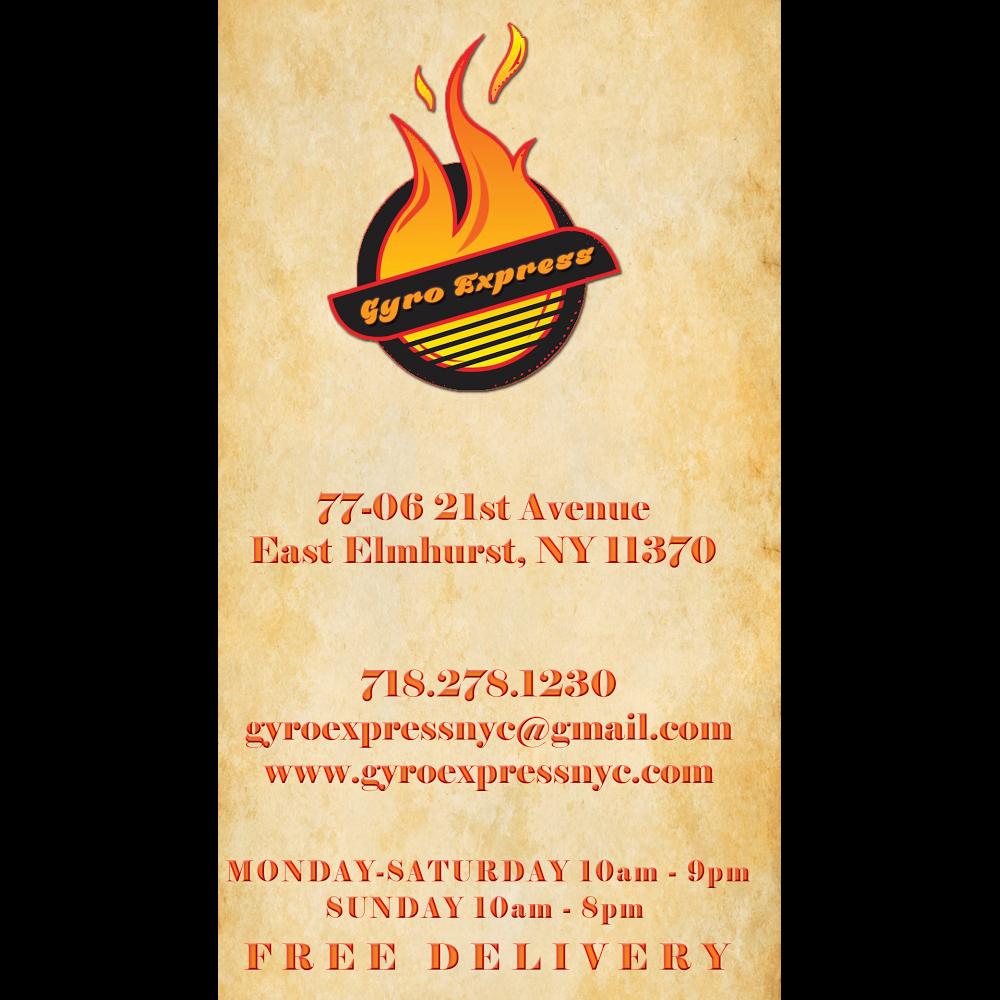 Gyro Express | restaurant | 7706 21st Ave, East Elmhurst, NY 11370, USA | 7182781230 OR +1 718-278-1230