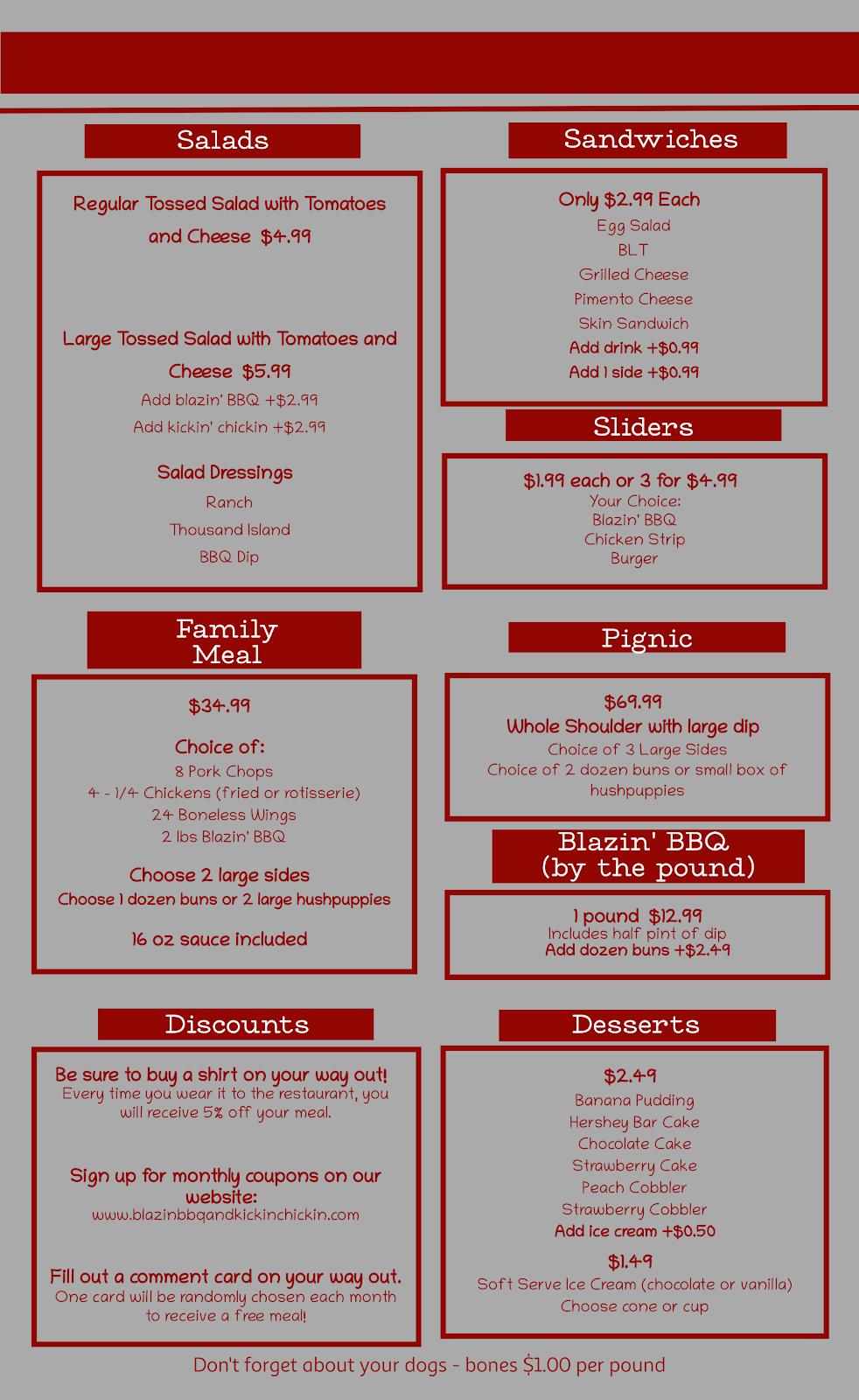 Blazin BBQ and Kickin Chickin | restaurant | 295 N Talbert Blvd, Lexington, NC 27292, USA | 3368434820 OR +1 336-843-4820