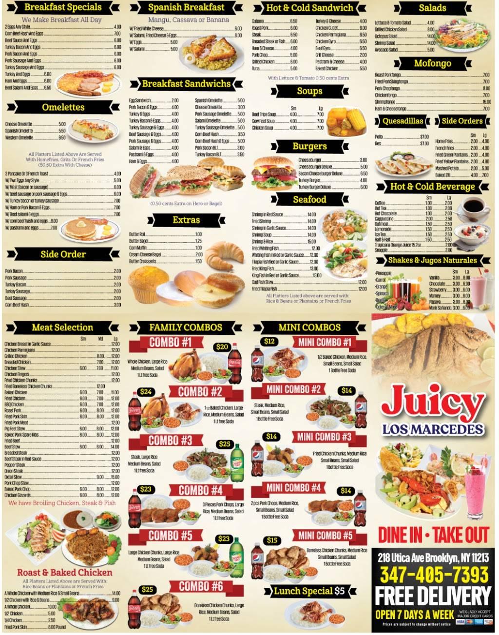 Juicy Los Mercedes | restaurant | 218 Utica Ave, Brooklyn, NY 11213, USA | 3474057393 OR +1 347-405-7393