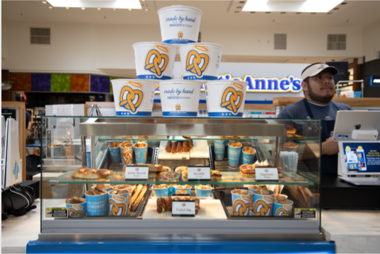 Auntie Annes   bakery   100 Crossings Blvd, Elverson, PA 19520, USA   6109133333 OR +1 610-913-3333