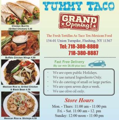 No1 Yummy Taco   restaurant   154-01 Union Tpke, Flushing, NY 11367, USA   7183808880 OR +1 718-380-8880