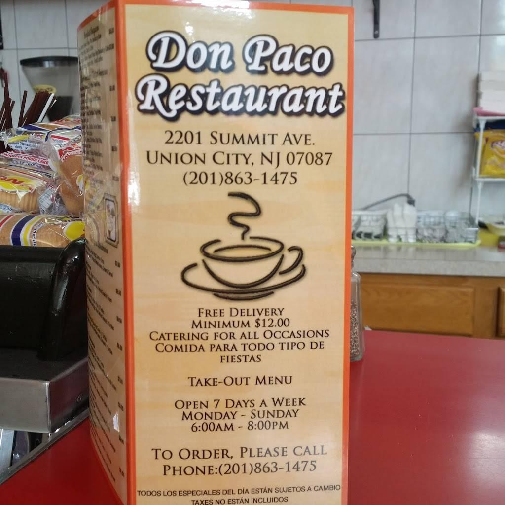 Don Paco   restaurant   2201 Summit Ave, Union City, NJ 07087, USA   2018631475 OR +1 201-863-1475