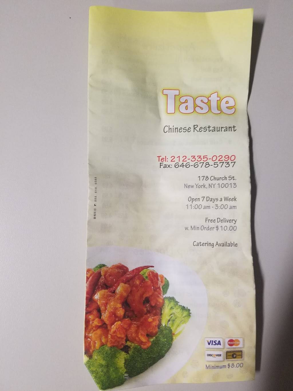 Taste Chinese | restaurant | 3819, 178 Church St, New York, NY 10013, USA | 2123350290 OR +1 212-335-0290