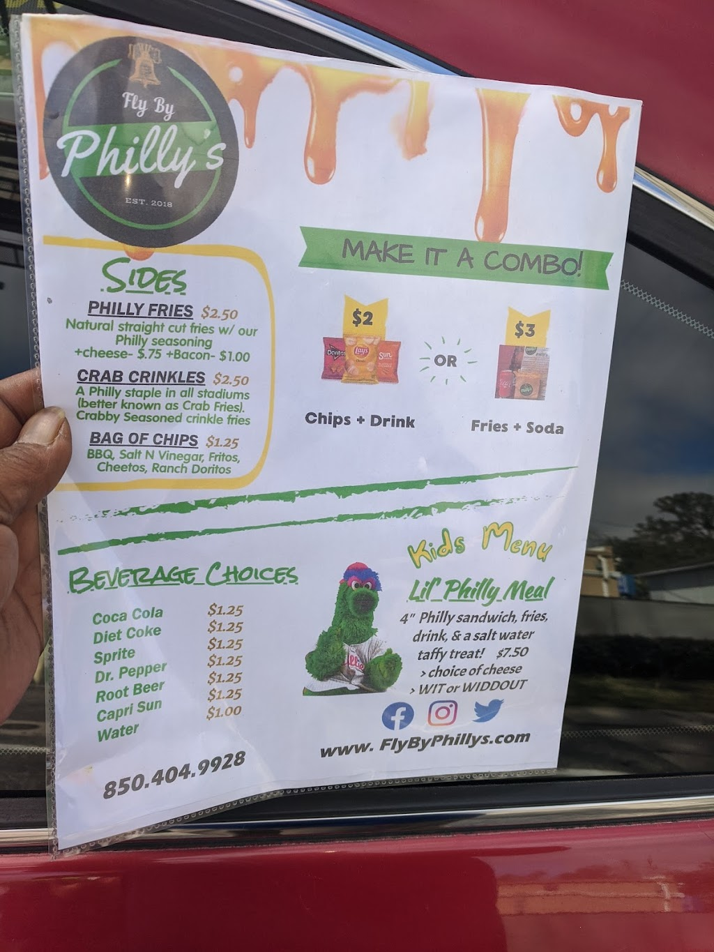 Fly By Phillys   restaurant   2205 Apalachee Pkwy, Tallahassee, FL 32301, USA   8504049928 OR +1 850-404-9928